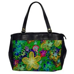 Beautiful Flower Power Batik Oversize Office Handbag (One Side)