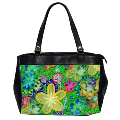 Beautiful Flower Power Batik Oversize Office Handbag (Two Sides)