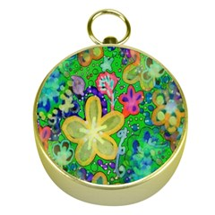 Beautiful Flower Power Batik Gold Compass