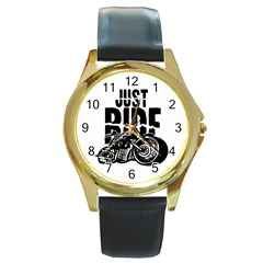 Justride Round Leather Watch (Gold Rim)