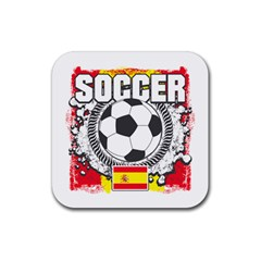 Soccer Spain Rubber Square Coaster (4 Pack)