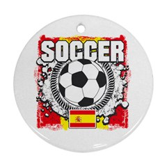 Soccer Spain Round Ornament (two Sides)