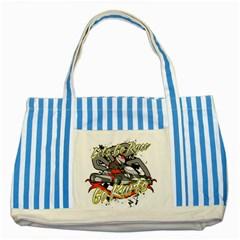 Lets Race Go Karts Striped Blue Tote Bag
