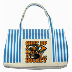 Shut Up and Play Hockey Striped Blue Tote Bag