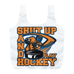 Shut Up and Play Hockey Full Print Recycle Bag (L)