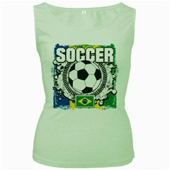 Soccer Brazil Women s Green Tank Top