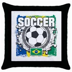 Soccer Brazil Throw Pillow Case (Black)