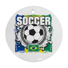 Soccer Brazil Round Ornament (Two Sides)