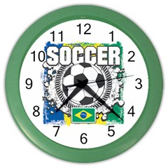 Soccer Brazil Color Wall Clock