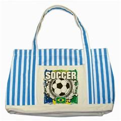 Soccer Brazil Striped Blue Tote Bag