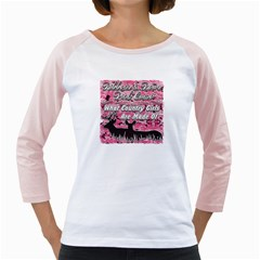Ribbons Bows Pink Camo Country Girls Girly Raglan