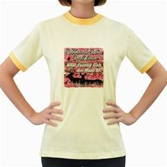 Ribbons Bows Pink Camo Country Girls Women s Fitted Ringer T Shirt
