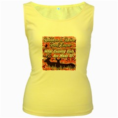 Ribbons Bows Pink Camo Country Girls Women s Yellow Tank Top