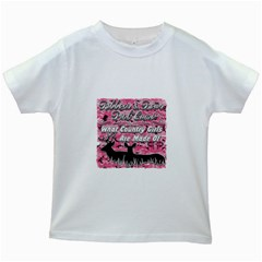 Ribbons Bows Pink Camo Country Girls Kids White T-Shirt