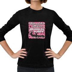 Ribbons Bows Pink Camo Country Girls Women s Long Sleeve Dark T-Shirt