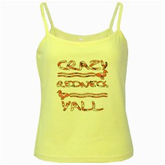 Crazy Redneck Y all Pink Camouflage Yellow Spaghetti Tank