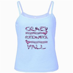 Crazy Redneck Y all Pink Camouflage Baby Blue Spaghetti Tank
