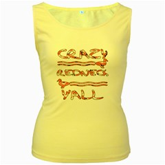 Crazy Redneck Y all Pink Camouflage Women s Yellow Tank Top