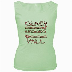 Crazy Redneck Y all Pink Camouflage Women s Green Tank Top