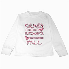 Crazy Redneck Y all Pink Camouflage Kids Long Sleeve T-Shirt