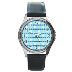 Anchors & Boat Wheels Round Leather Watch (Silver Rim)