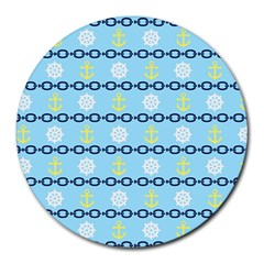 Anchors & Boat Wheels 8  Mouse Pad (round)