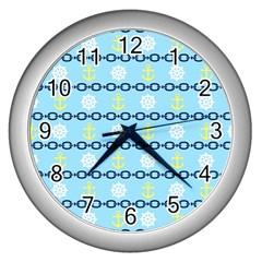 Anchors & Boat Wheels Wall Clock (Silver)