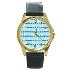 Anchors & Boat Wheels Round Leather Watch (gold Rim)