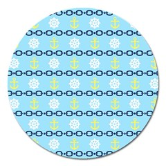 Anchors & Boat Wheels Magnet 5  (Round)