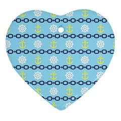 Anchors & Boat Wheels Heart Ornament (Two Sides)