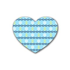Anchors & Boat Wheels Drink Coasters 4 Pack (Heart)