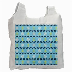 Anchors & Boat Wheels White Reusable Bag (two Sides)