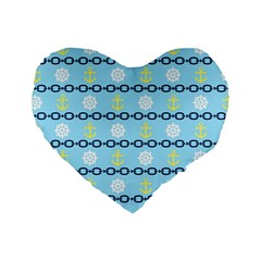 Anchors & Boat Wheels 16  Premium Heart Shape Cushion