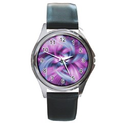 Mixed Pain Signals Round Leather Watch (silver Rim)