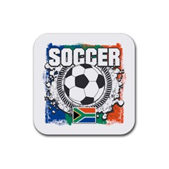 Soccer South Africa Rubber Square Coaster (4 Pack)