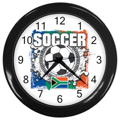 Soccer South Africa Wall Clock (Black)
