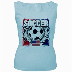 Soccer United States Of America Women s Baby Blue Tank Top
