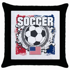 Soccer United States Of America Throw Pillow Case (black)