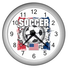 Soccer United States of America Wall Clock (Silver)