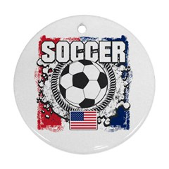 Soccer United States Of America Round Ornament (two Sides)