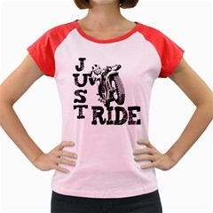 Black Just Ride Motorcycles Women s Cap Sleeve T Shirt