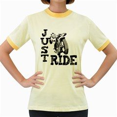Black Just Ride Motorcycles Women s Fitted Ringer T-Shirt