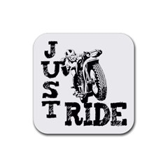 Black Just Ride Motorcycles Rubber Square Coaster (4 pack)