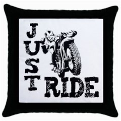 Black Just Ride Motorcycles Throw Pillow Case (Black)