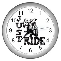 Black Just Ride Motorcycles Wall Clock (silver)