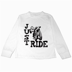 Black Just Ride Motorcycles Kids Long Sleeve T-Shirt