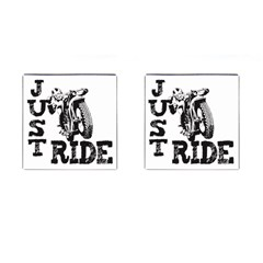 Black Just Ride Motorcycles Cufflinks (Square)