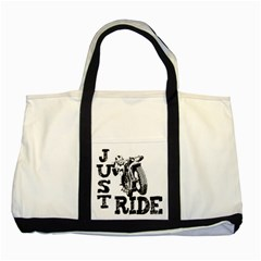 Black Just Ride Motorcycles Two Tone Tote Bag