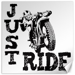 Black Just Ride Motorcycles Canvas 20  x 20