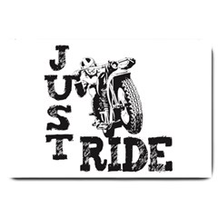 Black Just Ride Motorcycles Large Doormat